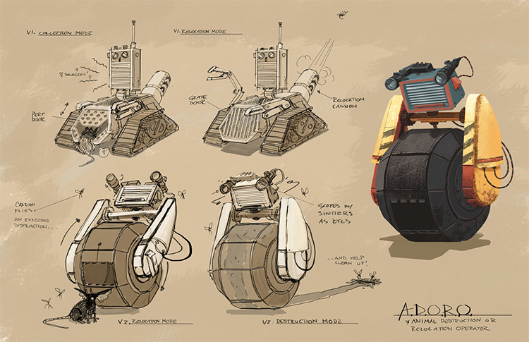 Various concept artwork prop items