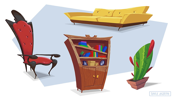 Cartoon style furniture props