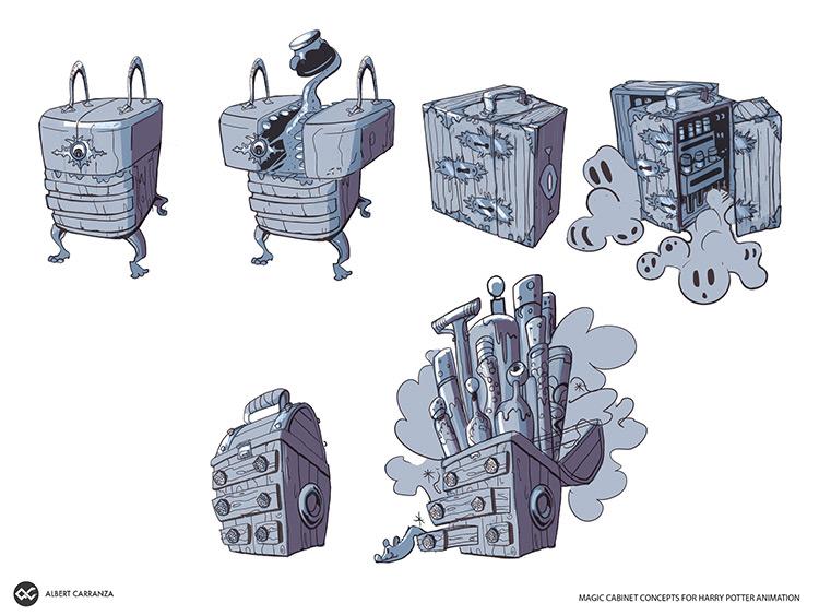 Harry Potter magical cabinet concept art