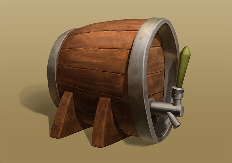 Beer barrell concept art prop