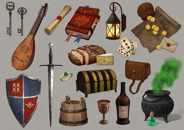 Custom medieval concept art props