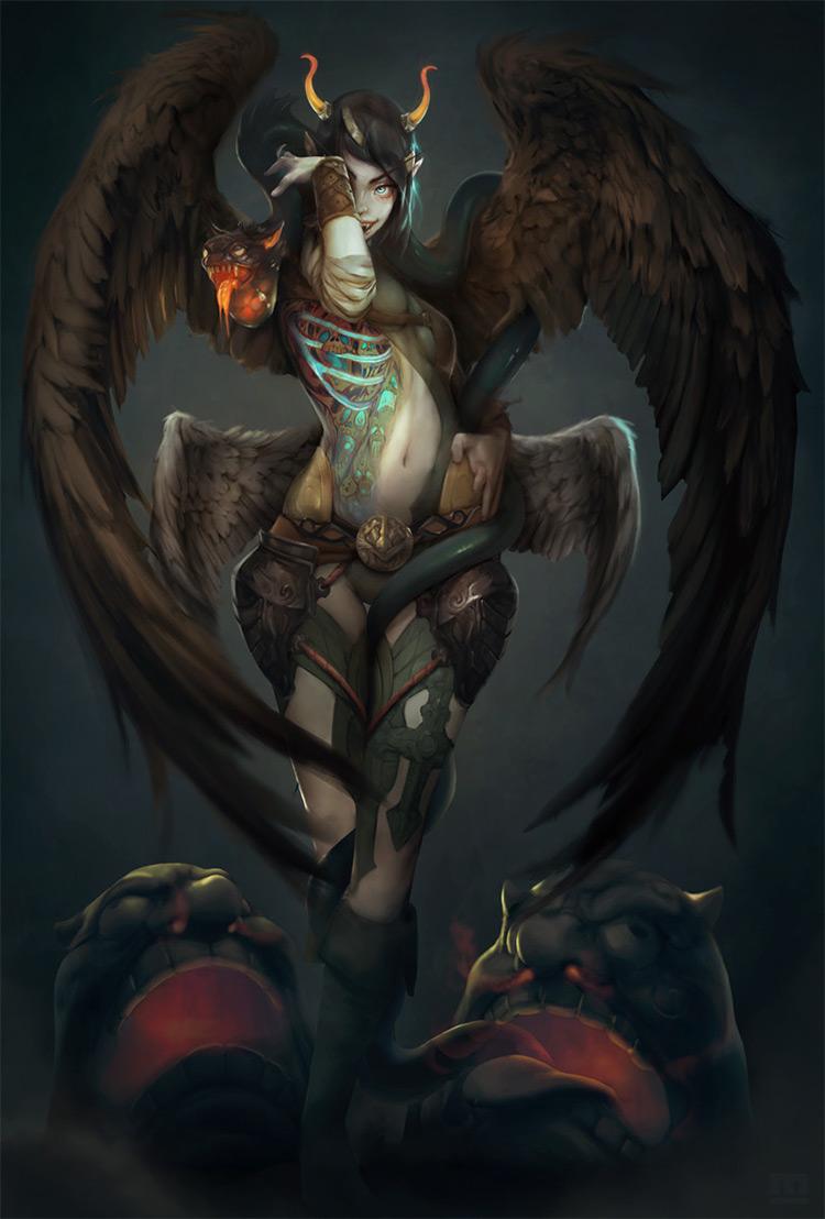 Beast demon style girl character