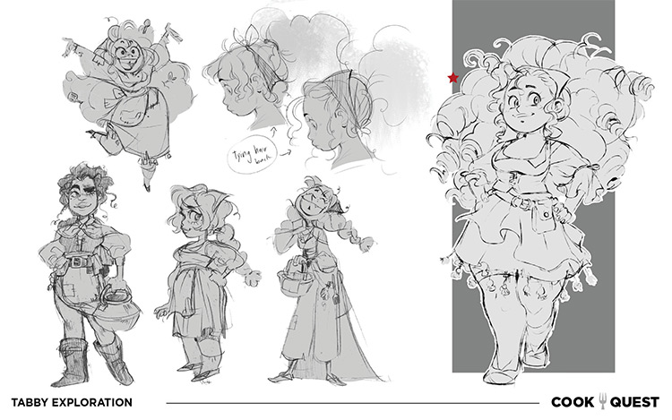 Sheet of character sketches