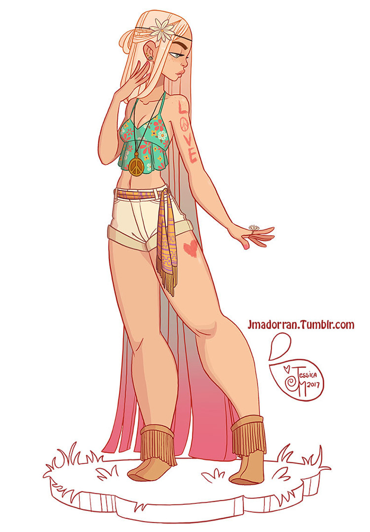 Hippie girl character