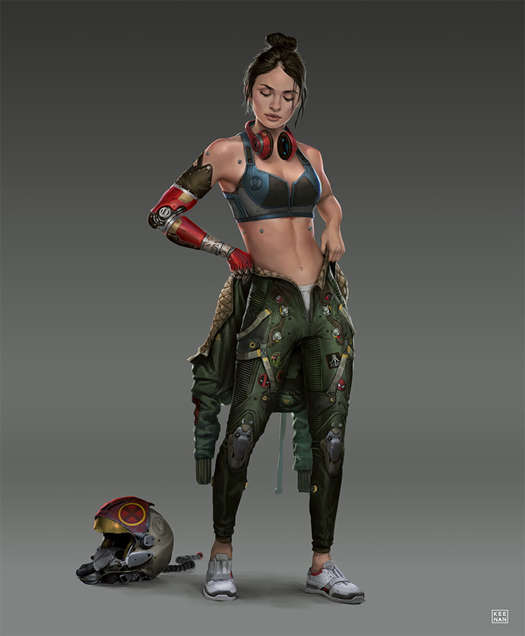 Girl in flight gear outfit