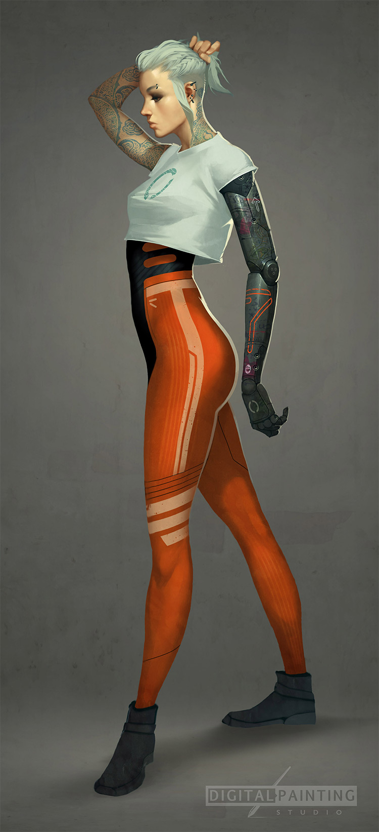 Tattooed girl character painting, half android