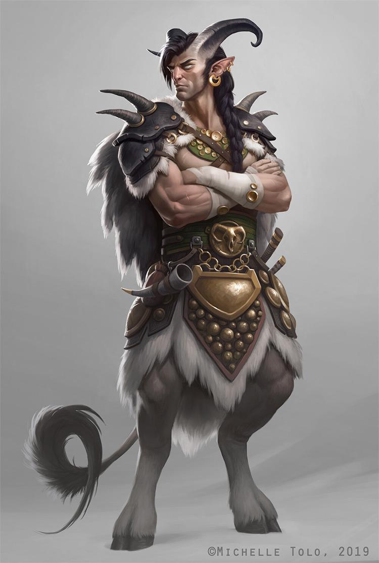 Faun half goat warrior concept