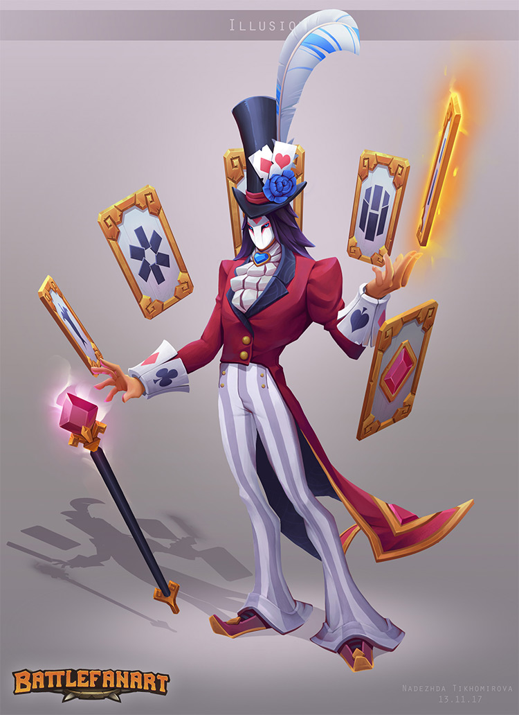 Magician, trick illusionist character concept