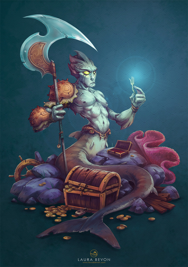 Merman with a fork character concept