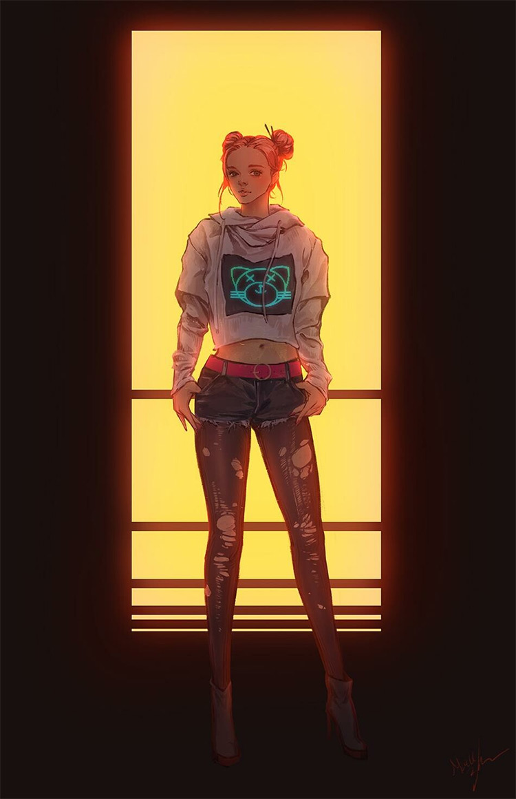 Girl with light hair, digital drawing/painting