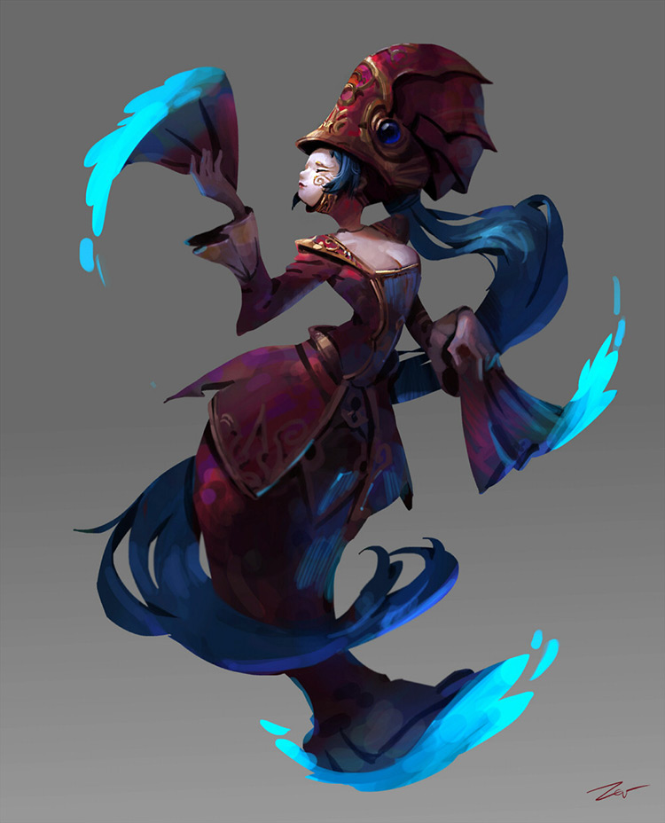 Floating carnival woman concept art