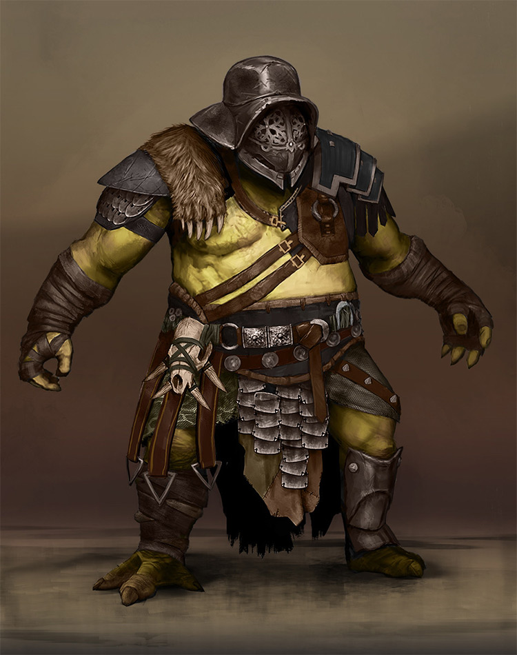Detailed gladiator man concept art