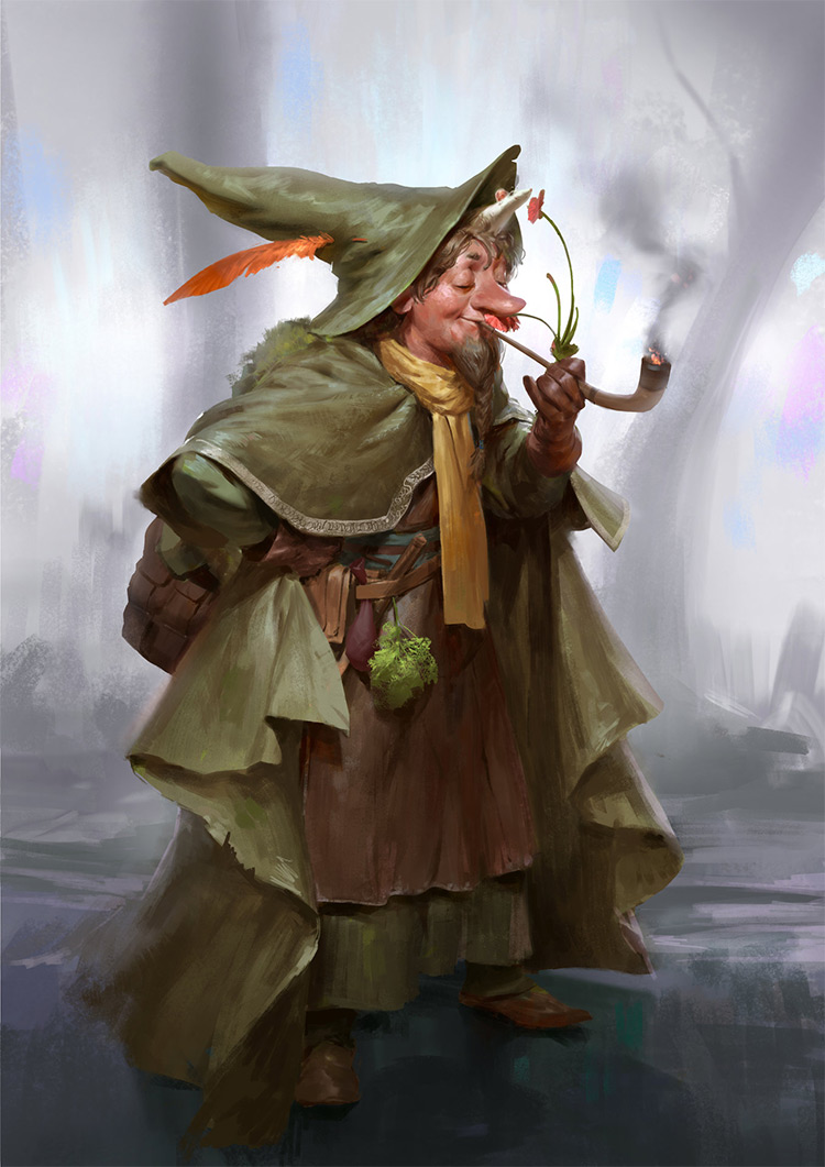 Fantasy mage smoking pipe character art