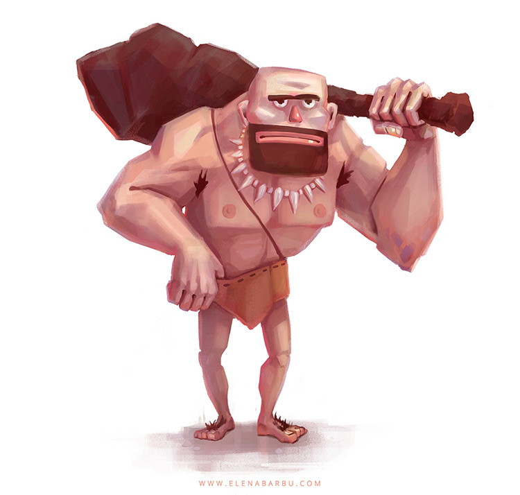 Unique stylized caveman illustration
