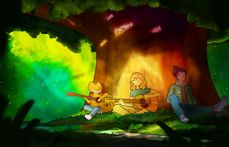Character illustrations under a tree