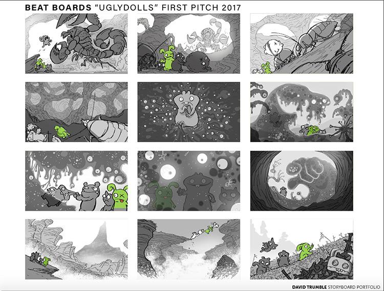 Storyboard pitch for Uglydolls