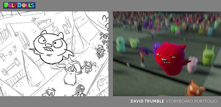 Storyboard for Uglydolls preview scene