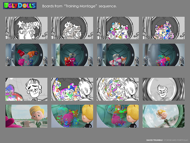 Training montage scene storyboards for Uglydolls