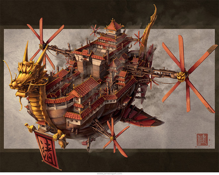 oriential-themed airship imperial
