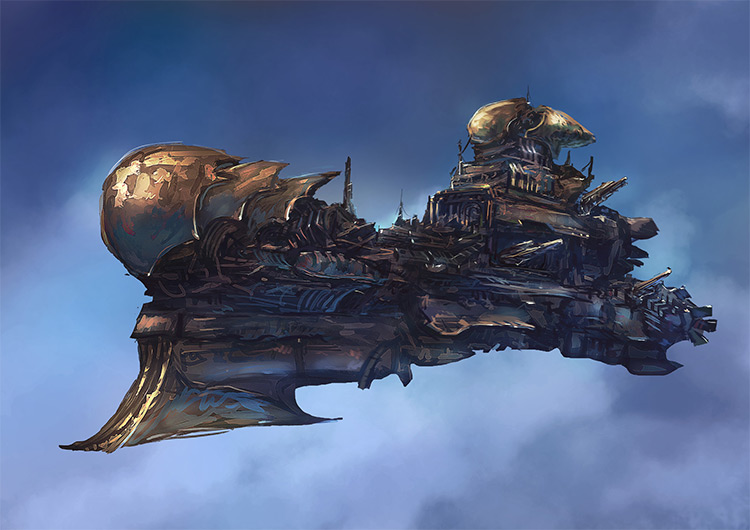 digital painting flying airship