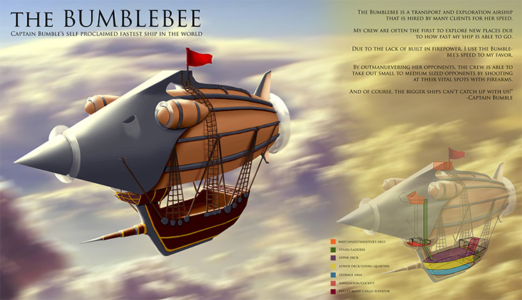 concept art fastest airship