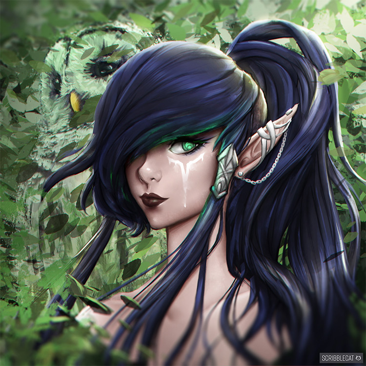 dark female elf design