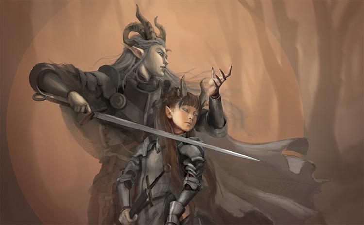 twin sword elf battle concept