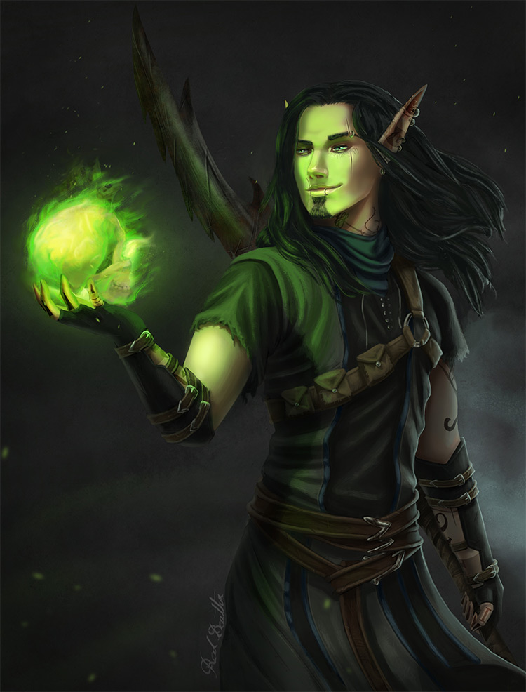 green glowing orb elf