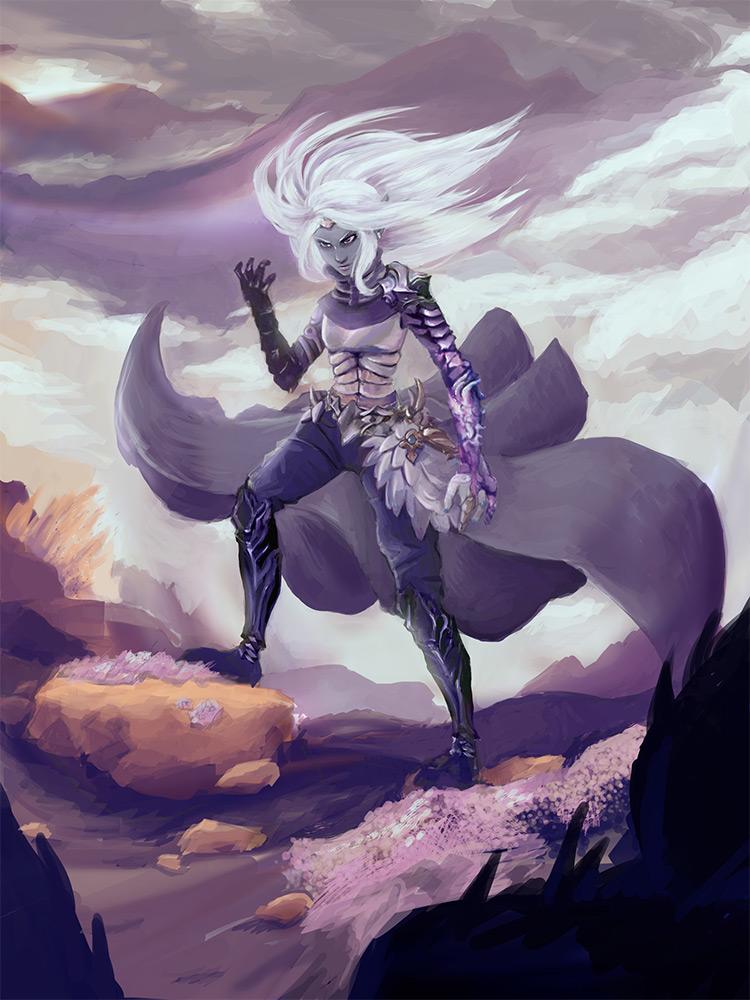 dramatic elf warrior concept art