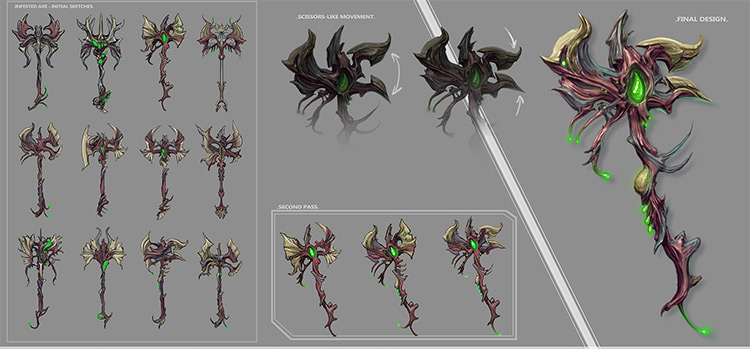 warframe concept art battle axe