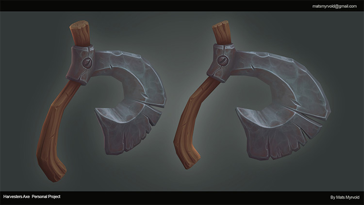 3d harvester axe concept art