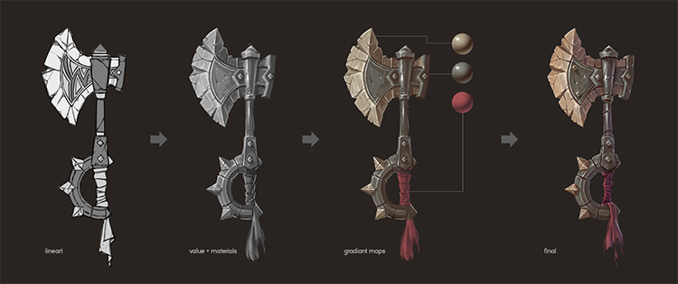 battle axe painting concept process
