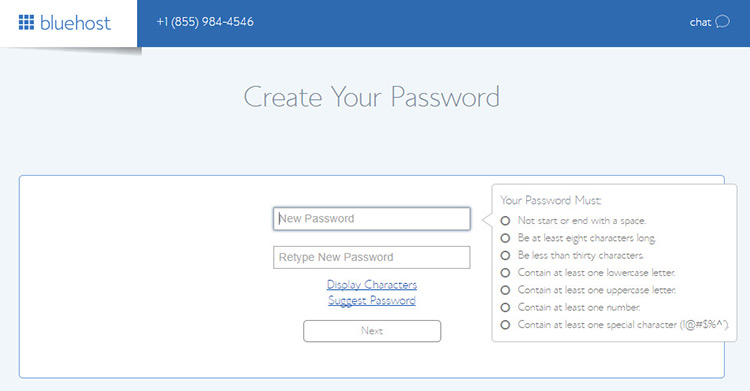Create BlueHost account password