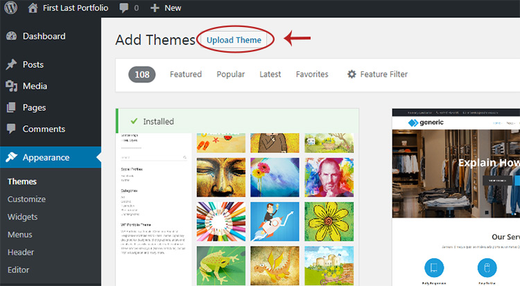 upload new theme wordpress