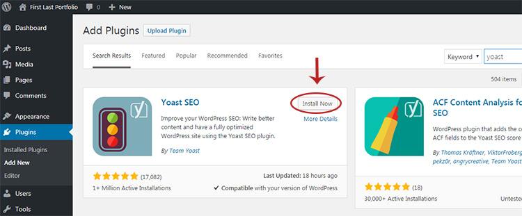 install yoast plugin