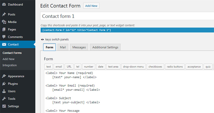 contact form 7 settings defaults