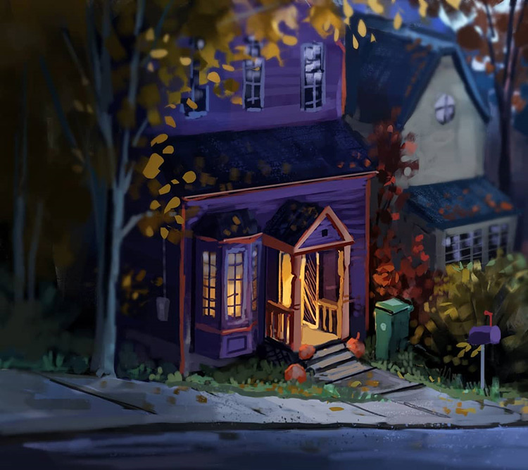 Nighttime house on Halloween - digital painting