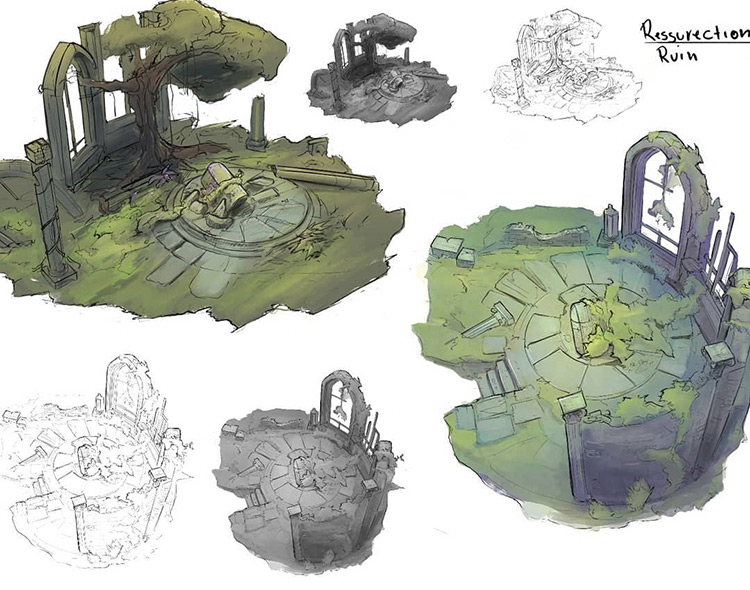Concept art of ruins - variations