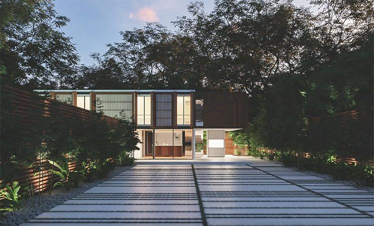 Outdoor architecture rendering in Corona