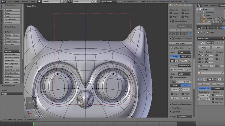 Owl character 3d modeled