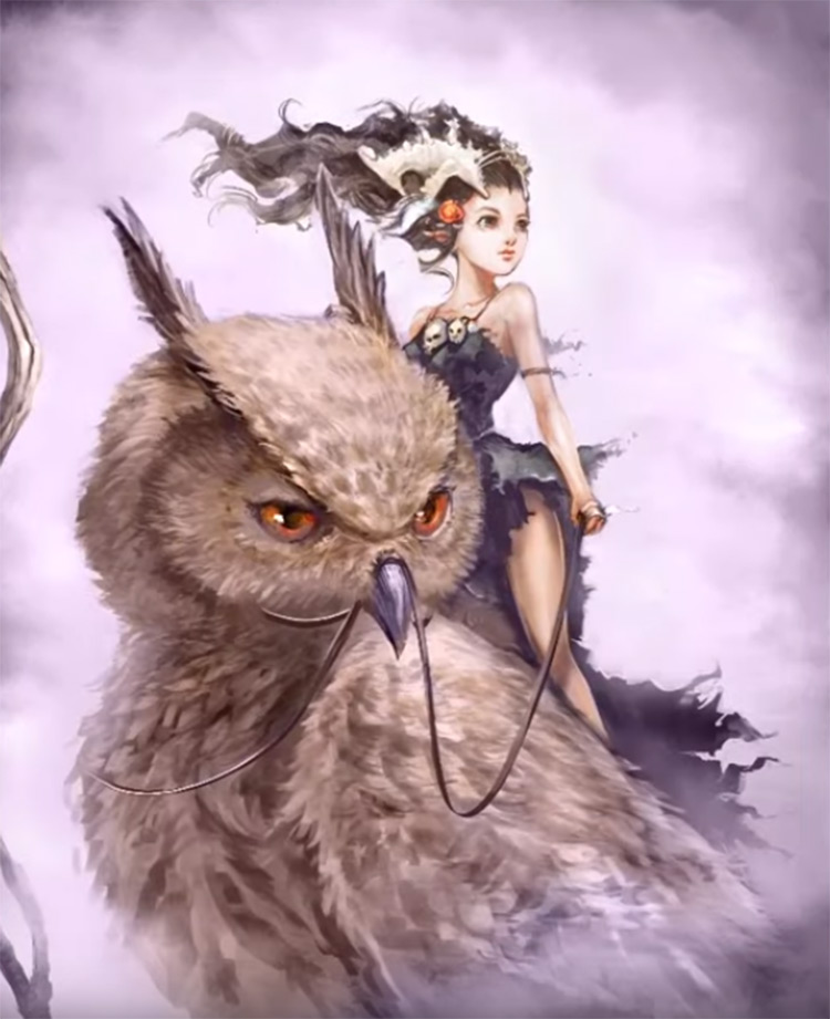 Girl with owl character painting in Photoshop