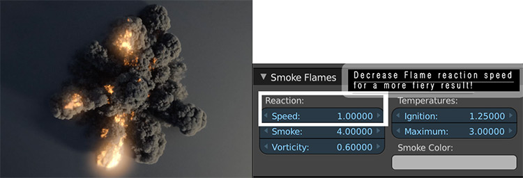 Smoke and fire speed settings in Blender