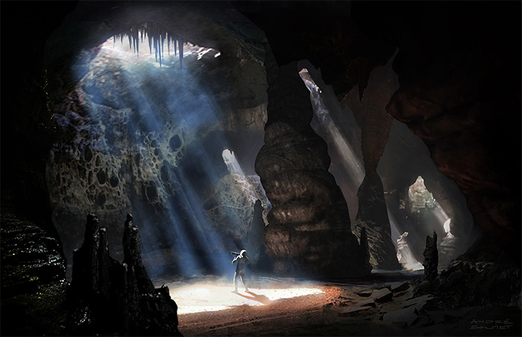 lighting in a cave