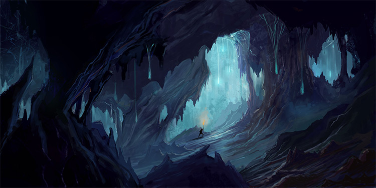 Dark blue Spida Cave environment concept