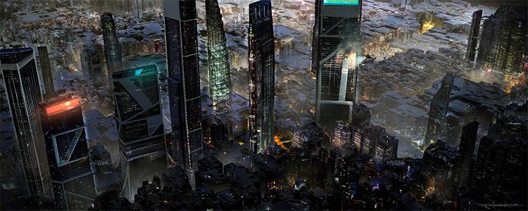 Dystopian cityscape concept art