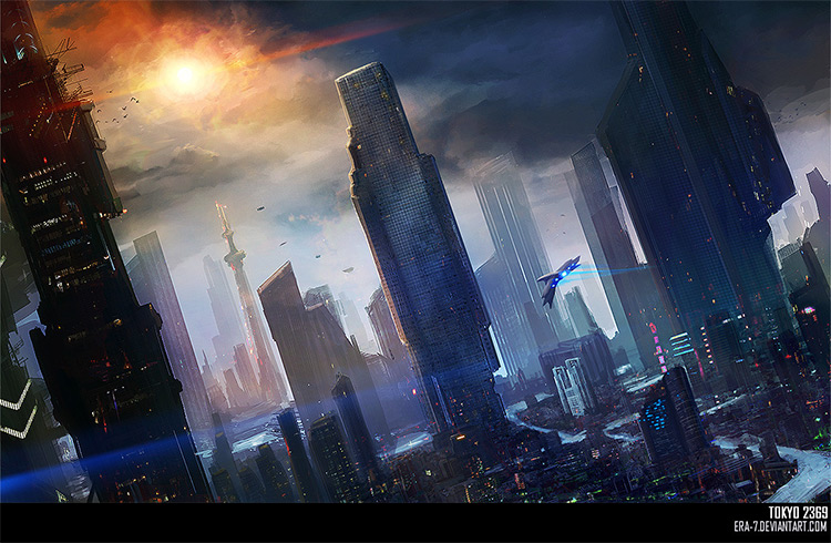 Tokyo 2369 futuristic concept art painting