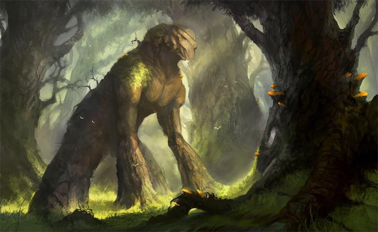 Green wooden earth golem creature
