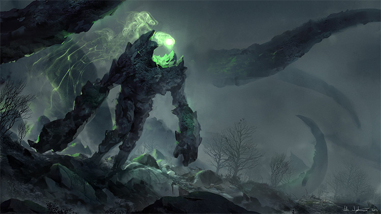 dark and green rock spirit creature