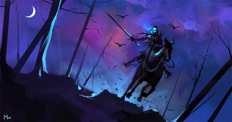 Dark nighttime speed painting ghost