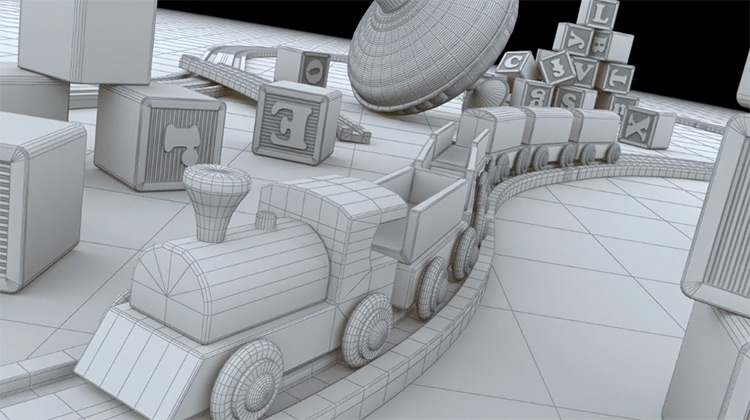 3D toys set - greyscale polygon mesh